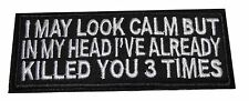 """I May Look Calm But In My Head... 4"""" Wide Embroidered Iron On Patch"""