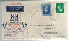 1946 Den Helder Netherlands KLM First Flight Cover Johannesburg South Africa FFC