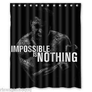 Muhammad Ali Impossible Is Nothing Custom Fabric Shower Curtain 60x72 Inch