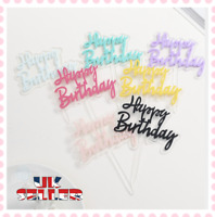 UK Cake Topper Birthday Party Happy Decoration Acrylic Supplies Glitter Gold