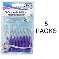 TePe Interdental Brushes Purple 1.1mm - 5 Packs of 8 Brushes - Fast, Free Ship