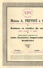 PARIS LYON PUBLICITE MAISON A. PREVOST APC RUBANS ETOFFES DE SOIE 1929