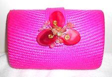 Straw Sand Clutch Flower Bag Purse Handbag NEW Beaded Pink Handbag Chain Only 1