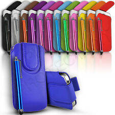 Magnet Button Premium PU Leather Pull Tab Pouch Case & Stylus Fits Many Phones
