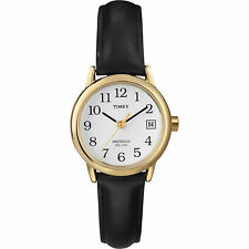 T2H341 Timex Women's Easy Reader Black Leather Strap Wa