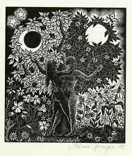 Acta en el Claro de Luna-sabine Springer 1989-original madera clave autografiada