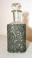 antique ornate reticulated men cologne metal filigree glass crystal bottle scent