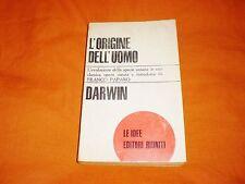 l'origine dell'uomo ,darwin, editori riuniti 1966 brossura cucita
