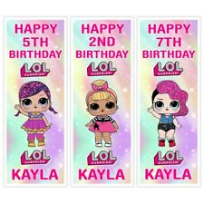 X 2 PERSONALISED LOL DOLLS BIRTHDAY PARTY VERTICAL BANNERS NAME ANY AGE