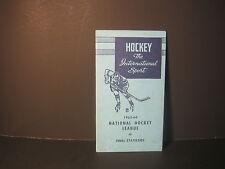 1963/64 NHL FINAL STATISTICS BROCHURE - HOCKEY THE INTERNATIONAL SPORT -