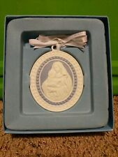 Wedgwood Virgin Mary & Child Porcelain Blue & White Christmas Ornament w/box