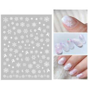 Christmas Nail Art Stickers Decals White Snowflakes Stars Reindeers (WG154)