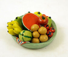 NEW HANDPAINTED CERAMIC MINIATURE COLORFUL TRAY WITH FRUITS & VEGGIES FIGURINE