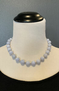 """QVC Milor Italy Sterling Silver 12mm Blue Lace Agate Magnetic Clasp Necklace 18"""""""