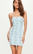 Missguided Asos Peace Love faux suede baby blue eyelet corset dress size U.K. 8