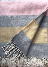 Wollplaid Plaid Decke 130x180 cm Kaschmir(Cashmere)/Schurwolle gestreift