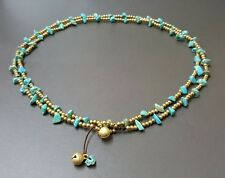 Long Necklace Turquoise Brass Chain