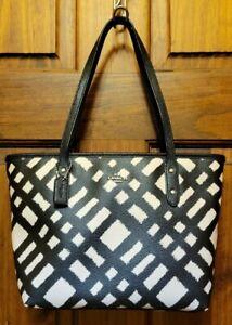 Coach Wild Plaid Black & White Coated Canvas MINI City Zip Tote Handbag F22246
