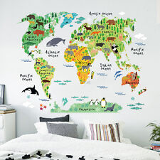 Kids Children Bedroom Living Room Animal World Map Wall Sticker Mural Decals