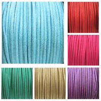 3mm SHIMMER GLITTER FAUX SUEDE FLAT CORD STRING CRAFTS JEWELLERY KIDS 7 COLOURS