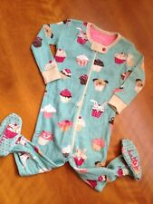 New Hatley Girls One Piece Footed Cotton PJ Pink Aqua Cupcakes sz 6-12 mos