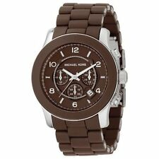 NEW MICHAEL KORS RUNWAY CHOCOLATE BROWN SILICONE WRAPPED CHRONO. WATCH-MK8129