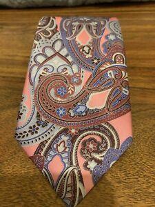 Ermenegildo Zegna Pink Paisley Tie MSRP $195