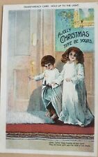A Jolly Christmas Time Be Yours. Hold up to the light. Transparency Postcard.