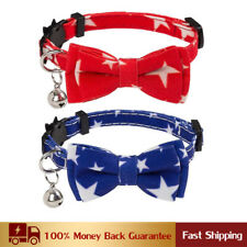 New listing American Flag Cat Collars Breakaway 2 Pack Bow Tie Collar with Bell Adjustable