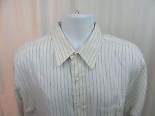 Van Heusen Broad Cloth White Striped French Cuffs Long Sleeve Shirt 17 32/33