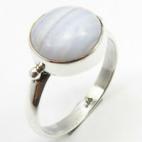 925 Solid Silver Round Shape Blue Lace Agate Ring Size 7.25 Handcrafted Jewelry