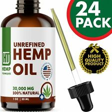 24 Pack Hemp Oil Extract For Pain Relief Anxiety, Sleep 1 oz 30000 mg