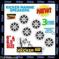 3 PAIRS OF KICKER KM6204W 1KM6204W BKM60 BKM604W MARINE & BOAT SPEAKERS 6.5 INCH