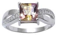 925 Sterling Silver Charming Ametrine Gemstone Ring Band Women Fashion Jewelry