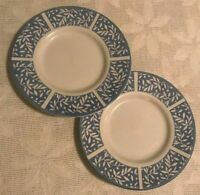 Newcor 1994 Vintage Saucers 722 Andalusia Blue White Stoneware Set of 2