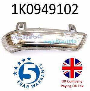 VW Wing Mirror Indicator Turn Signal + Bulb Right Side 1K0949102 O/S MK5 Golf