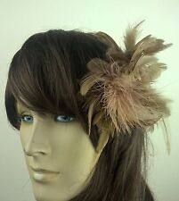 tan brown feather fascinator hair clip headpiece wedding party fancy dress