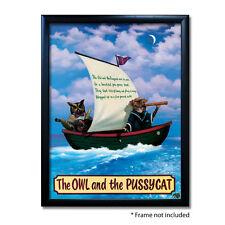 OWL & PUSSYCAT PUB SIGN POSTER PRINT | Home Bar | Man Cave | Pub Memorabilia