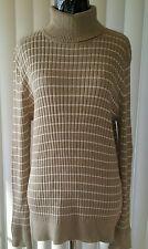 Women's sweater beidge with stripes turtleneck 100%Cotton by Croft&Barrow, New!