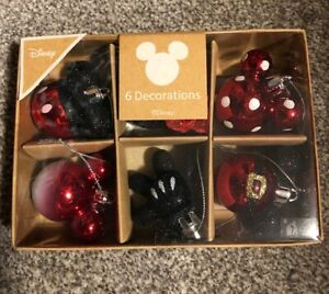 Disney Primark Mickey/Minnie Mouse Christmas  Baubles  6 Pack NEW FOR 2020