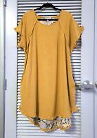 mustard floral back fringe tail short slev dress 2XL w/ anthropologie earrings
