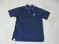 Peter Millar Polo Shirt Adult Medium Navy Blue White Cotton Golfer Rugby Mens