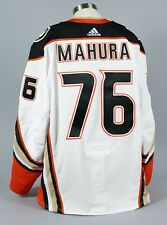 2019-20 Josh Mahura  Anaheim Ducks Game Worn Away White Jersey Set 1