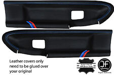 BLUE STITCH M STRIPES 2X FRONT DOOR CARD COVERS FOR BMW E36 COUPE & CONVERTIBLE