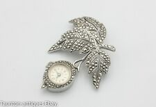 Sterling silver 925 vintage Sonic fob watch leaf brooch marcasite 1965 17 jewels