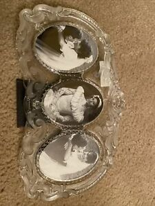 MIKASA Princess Lead Crystal Frosted Triple Oval Photo Frame 8 x 13 New