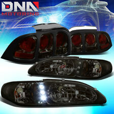 FOR 94-98 FORD MUSTANG/GT SMOKED 1PC HEADLIGHT+LED DRL+CORNER+ALTEZZA TAIL LAMP