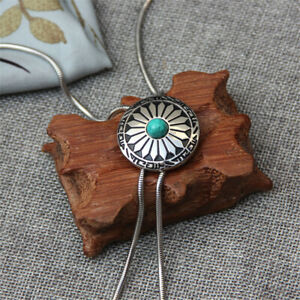 Flower Turquoise Mens Bolo Tie Wedding Necklace Metal Clip & Rope Western Cowboy