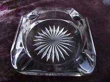 Vintage Square ( Crystal ?) Glass Ashtray