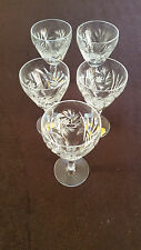 """Vintage GDR Hand Cut Crystal Wine Goblet 3.5"""" Tall Clear Glass Stemware Set of 5"""